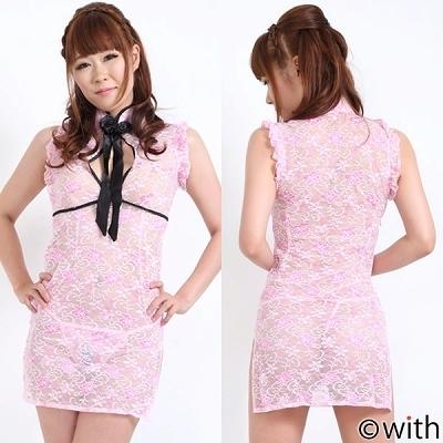 リボン付・花柄シースルーチャイナドレス