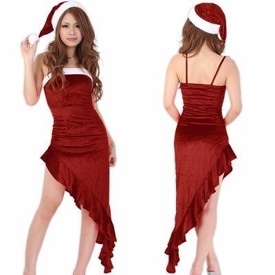 アシンメトリーのセクシーサンタロングドレス